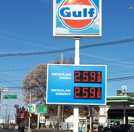 Gulf Cash Credit LED Gas Price Sign